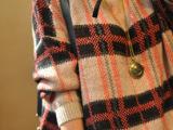 2014秋装新款日单品韩单软软宽松复古针织打底衫大格纹毛衣外套