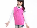 2015秋季新款女童纯色定珠毛线背心毛衣马甲上市火热批发销售
