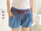 2015夏季新款雪纺短裤女士糖果色大码高腰休闲裤裙裤学生热裤批发