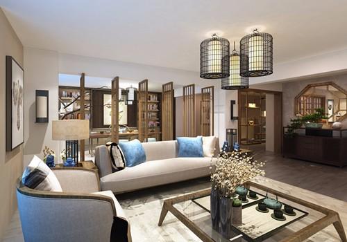 客厅:精致利落的装修设计,将有质感的中式家居空间营造的大气优雅,墙上的字画突出主人的心境,地板的设计更是富有特色,古典中带有时尚,整个空间给人一种高贵宁静的感觉。.jpg