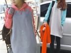 2013秋冬新款/ 纯色拼袖子中长款抓绒卫衣