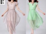 厂家直批2014新款 100桑蚕丝 品牌 短袖长裙 真丝连衣裙