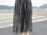 2014欧美风黑白竖条纹网纱雪纺半身长裙 复古网纱半身裙