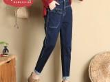 韩版直筒牛仔裤女宽松学院风牛仔裤尾货服装批发