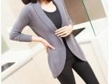 2014秋装新款大码修身女外套薄针织衫 欧洲站中长款长袖开衫