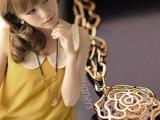 韩版饰品女士长款毛衣链韩国多层锆石时尚复古玫瑰花朵项链女