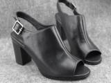 2014经典中性粗跟凉靴鱼嘴黑色百搭凉鞋全真皮外贸大码女鞋