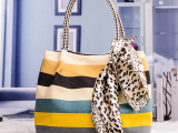 韩版品牌女包  夏款丝巾环保帆布手提包  印花条纹时尚单肩包