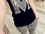 女装2014黑白条纹M字母镶钻短袖T恤条纹小脚裤两件套休闲套装