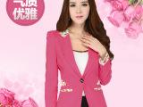 秋冬新品韩版修身小西装  长袖花边糖果色外贸原单女装外套 直销