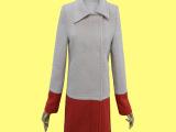原单外贸韩国秋冬亮色拼接羊毛大衣外套中长款翻领修身羊毛大衣女