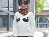 男童T恤 加绒 中小童打底衫 秋冬款长袖T恤 不倒绒面料 毛巾绣