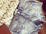 2015新款夏镶砖钉珠磨破显瘦牛仔短裤热裤女休闲裤街头
