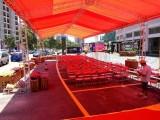 南海庆典舞台背景珩架帐篷搭建音响灯光开业庆典长条桌贵宾椅铁马