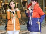 2014冬新款女韩版大码连帽羽绒棉衣女中长款军工装加厚外套款