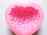 硅胶心型玫瑰模具心型翻糖蛋糕模  烘焙工具 手工皂模具订制