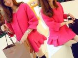 2014韩国代购秋冬新款女装小香风羊绒 毛呢风衣荷叶边 毛呢外套