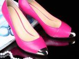 2014欧美女鞋女式金属尖头单鞋时尚简约女鞋大牌女款单鞋一件代发