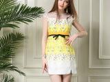 混批夏季欧洲站新款女装拉链欧美品牌印花连衣裙女高腰中裙子代发