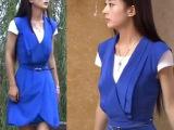 妻子的秘密同赵丽颖江百合同款 蓝色连衣裙V领气质两件套 8642