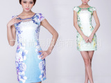 2015新款中国风女装印花旗袍 民族风短袖时尚旗袍厂家设计批发