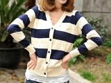 X899.桃心条纹时尚新款学院风空调缕空小开衫.(3个色:蓝,黑