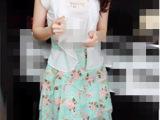 2014新款 韩版圆领连衣裙修身长袖拼接碎花连衣裙