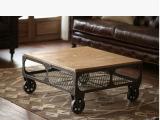 美式乡村复古实木茶几书房客厅创意移动滚轮铁艺茶几书桌子可定制