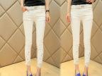 2014新款女装韩版 时尚彩钻显瘦白色牛仔裤小脚裤九分裤女裤