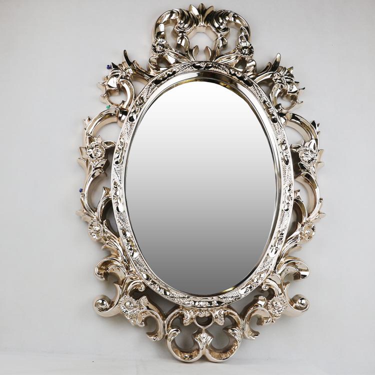 新款欧式高档家居工艺公主墙挂镜子梳妆台摆件 树脂电镀玻璃镜子