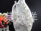 玉瓷象牙瓷手寄花描金 新品凤凰镂空描金贴钻花瓶  厂家自产自销