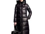 2015春季冬季欧洲站黑色羽绒服女长款过膝加厚修身连帽 羽绒衣