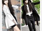8256   2012秋冬新款日系  韩版薄款纯色连帽中长款外套风衣大衣