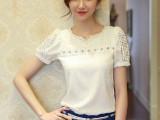 2014雪纺衫女夏装新款短袖修身镂空蕾丝V领潮白色打底衫韩版女装