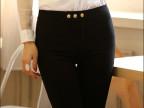 2015新款韩版时尚白色弹力 三扣小脚裤 铅笔裤女 修身显瘦打底裤