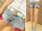 A1180 2014夏季新款 休闲潮款嘴印 超显瘦牛仔热裤 女裤子