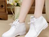 14新款潮真皮单鞋 平底女休闲鞋 牛皮平跟系带克罗心平底鞋女鞋