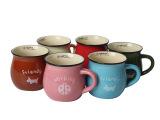 可爱大肚型仿搪瓷马克杯早餐牛奶水杯创意陶瓷杯子包邮 P4TWSQ