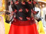 韩国东大门2014 欧根纱爱心刺绣泡泡袖雪纺衫+半身裙套装配吊带