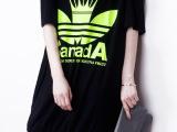 2014韩版荧光印花中长款宽松露肩上衣短袖T恤女半袖