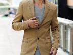 韩版男装新款男士休闲小西装潮流修身小西服镶皮领西装男一件代发