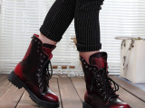直销秋冬新款欧美时尚真皮系带马丁短靴 圆头粗跟中筒女士短靴潮