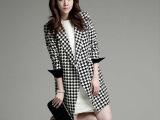 2014秋冬女装新款韩版修身中长款风衣千鸟格大衣外套现货一件代发