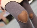 冬季女士韩版五角星补丁加绒九分拼接小脚靴裤 义乌打底裤