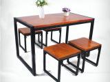 雅尚 美式乡村复古实木铁艺茶几组合客厅书房创意休闲茶几套件