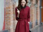 2014秋冬新品风衣韩版女装修身单排扣时尚百搭收腰外套中长款风衣