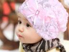 2014韩版婴儿童女宝宝帽子蕾丝花朵帽 公主套头帽新款堆堆帽