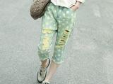 15夏季新款休闲七分裤宽松个性时尚潮来自星星的破洞手工磨破马裤