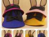 2015秋冬季新款儿童羊毛呢盆帽 可爱小兔子耳朵骑士帽子批发Y0