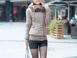 2014秋冬韩版百搭修身显瘦女装PU皮新款连帽毛领皮衣外套